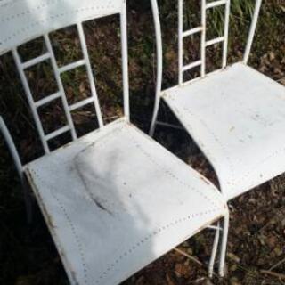 ガーデン用 椅子 白 シャビー 2脚セット