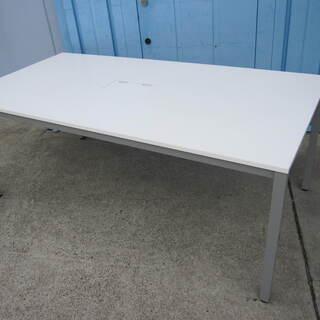 会議テーブル 配線ボックス付き ホワイト W1800