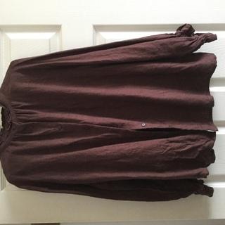 ブラウス茶色、羽織り、前後ツーウェイ着用可能デザイン、used◆...