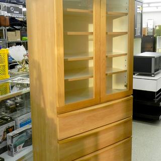 食器棚 77×195 キッチン収納 ナチュラル 木製 扉 引き出...