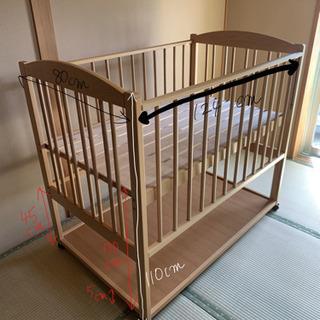 日本製ベビーベッド 両側スライド 高さ2段階調整可能 サワベビー