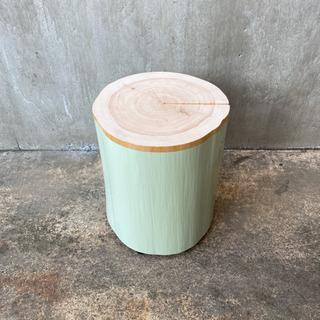 ペンキを塗った切り株スツール(pale olive)  31cm