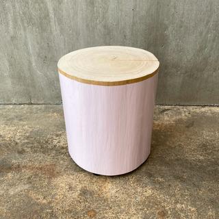 ペンキを塗った切り株スツール(pale pink)  33cm