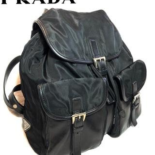 PRADA プラダ➂ ブラックリュック レザーコンビ 希少 ヴィンテージの画像