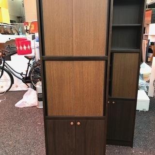 00335 木製収納棚★多目的収納★ガラス戸【中古品】