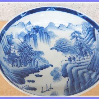 有田焼 古伊万里 染付 山水 25cm 深鉢 なます皿 二重高台