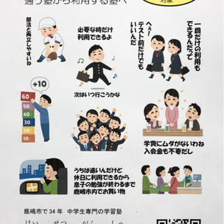 中学生対象の学習塾 1コマ(50分+50分)1,500円