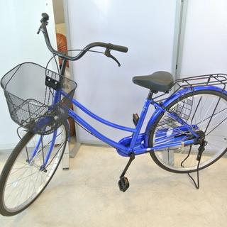 26インチ 自転車 シティーサイクル ママチャリ MILK 青 ...