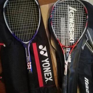 軟式テニスラケット YONEX KAWASAKI 2本セット+ミ...
