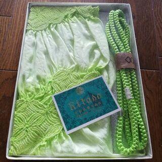 帯締め帯揚げセット グリーン 未使用 正絹