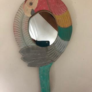 南国鳥デザインの大きな手鏡🌴🦜🌺