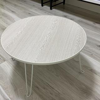 <美品>折りたたみ ローテーブル 丸 幅60cm高さ31㎝ ホワイト