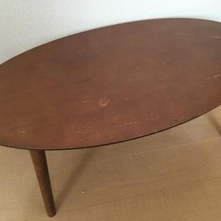 折りたたみテーブル 楕円形 ブラウン
