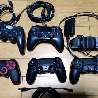 PS4 コントローラー純正2個 社外3個 充電器1個 USBケー...