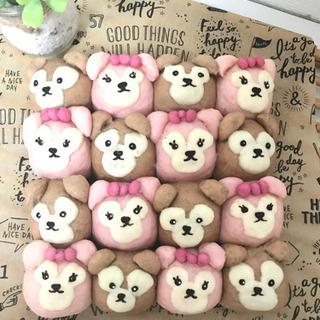 ブラウン&ピンクのクマちゃんちぎりパン★ミニランチ付