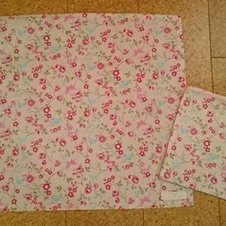 ハンドメイド 小学生用ランチョンマット&給食袋セット(ピンク)