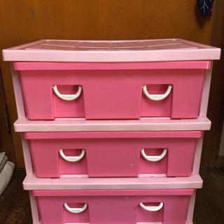 3段収納BOX タンス 可愛いピンク♡子供部屋等に ①