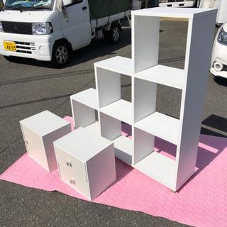 段式整理棚 白、収納BOX付き