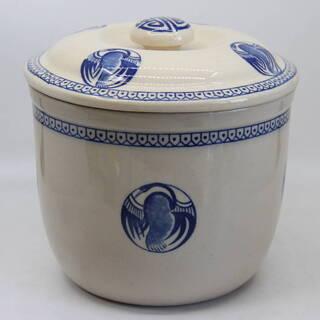 丸壺 蓋付き かめ 染付風 瓶