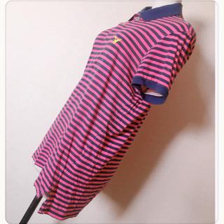 [American Eagle]ポロシャツ カットソーピンク 縞模様ネオンカラー - 香取市