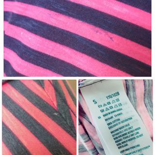 [American Eagle]ポロシャツ カットソーピンク 縞模様ネオンカラー - 服/ファッション