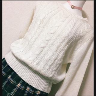 [GRL]ケーブル編みニット 白 セーター LサイズOK