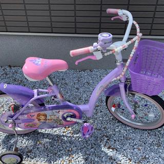 【美品】プリンセスソフィア 自転車(補助輪付)とヘルメットのセット