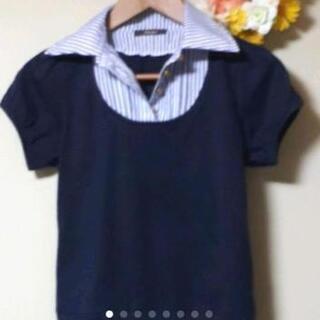 急募🔊 ◀️ドスチ▶️ストライプ シャツ襟 紺 ボタン L