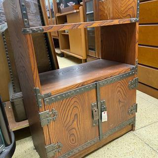 時代箪笥 欅? 鋲 鋼 細工 無垢材 金具 収納 レトロ
