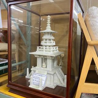 大理石? 石造 宗教 五重塔 オブジェ 置物 ガラスケース付き
