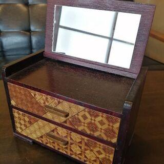 箱根寄せ木細工 鏡付き小箱