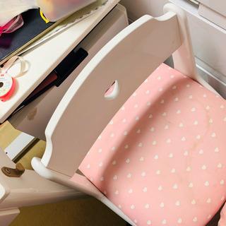 女の子学習机 白にピンク 椅子付き