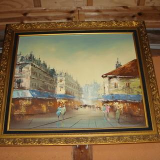 油絵、ヨーロッパの街並み