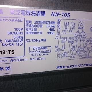 お買い得!!3点セット!!アクア AQR-18G(R)ルージュ 2ドア冷凍冷蔵庫  2017年製・東芝(TOSHIBA)5K 全自動洗濯乾燥機 AW-705 2014年製・アイリスオーヤマ(IRIS OHYAMA) 電子レンジ IMB-T175-5 2018年製 − 神奈川県