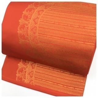 ◇金彩花模様 付け帯◇ 二重太鼓 (濃い朱赤) 二部式 作り 袋帯