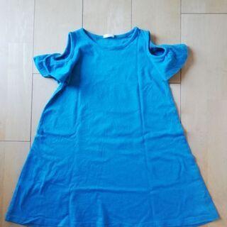 GU女児110 綿カットソー半袖ワンピース