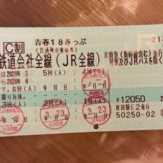 青春18切符(残り1回使用可能)