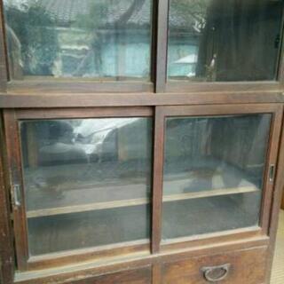 USED 昭和 レトロ ガラス戸 食器棚 アンティーク