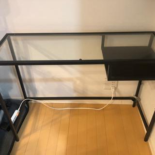 IKEA ガラステーブル パソコンラック