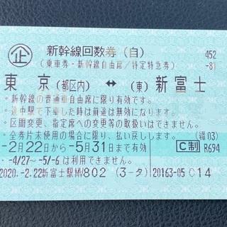 新幹線回数券🚅東京⇔新富士