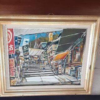 骨董絵画 商店街 油絵