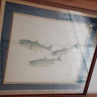 骨董絵画 ヤマメ(山女魚)の群れ 水彩画