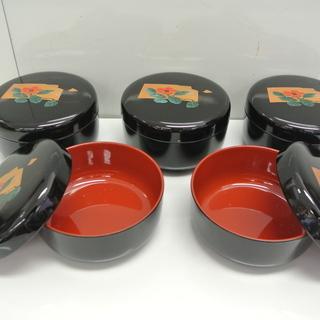 未使用 蓋付き飯碗 おひつ 1人前 5客揃 合成漆器