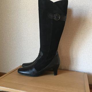 本革黒ロングブーツ(国産ブランド)
