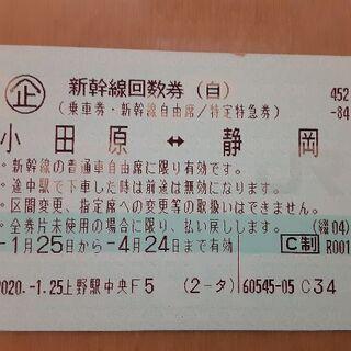大幅値下げ!新幹線 小田原⇔静岡 往復 郵送OK 送料無料