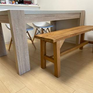 ダイニングテーブル、長椅子、椅子2脚セット