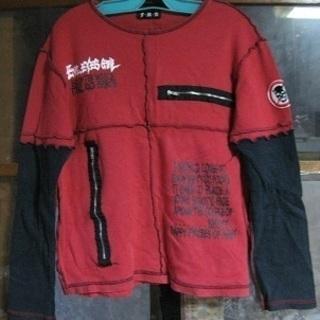 ワンコイン 黒×赤 長袖Tシャツ スカル