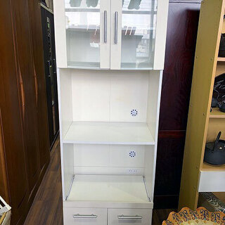 【苫小牧バナナ】ニトリ キッチンボード ホワイト 食器棚 …