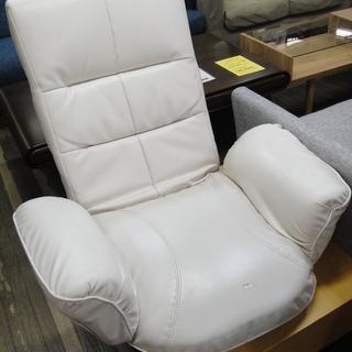 座椅子 回転座イス リクライニング式 座イス レザー調 ホワイトの画像