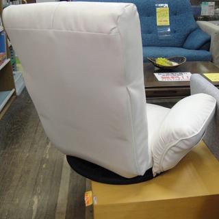 座椅子 回転座イス リクライニング式 座イス レザー調 ホワイト - 札幌市